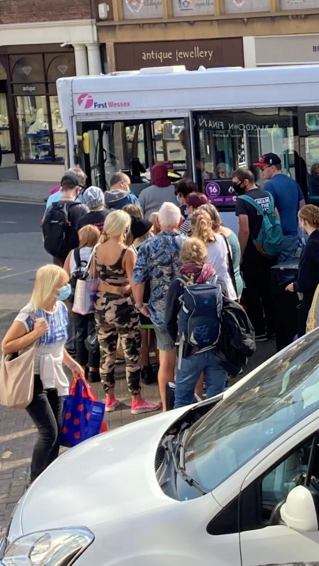 Somerset residents have been photographed crowding into a First Wessex bus in Taunton