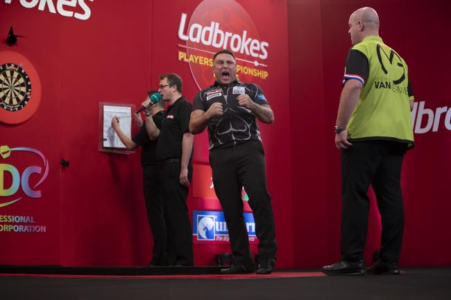 TOURNAMENT: Gerwyn Price celebrates during the 2019 Players Championship held at Butlin's in Minehead