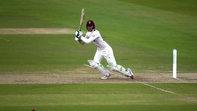 Byrom hit 51 of Somerset's 119 for four on a rain-hit opening day. Credit: PA Media