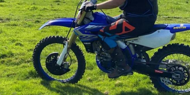 Police are appealing for people who have seen a blue and white Yamaha YZF 250