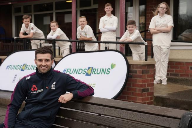 SUPPORT: England cricketer Mark Wood with a group of young players at the #Funds4Runs launch event