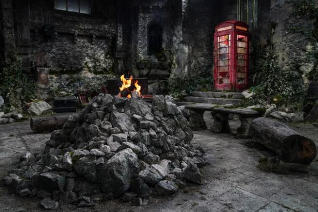 Somerset County Gazette: A campfire is still a feature of this year's show, despite the shift to the castle (Picture: ITV)