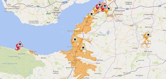 Flood warnings issued in Somerset. Pic: Environment Agency