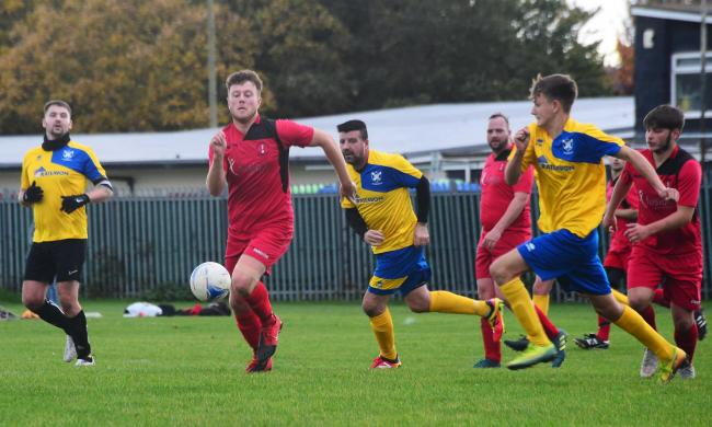 CONTROVERSY: Match action from the Burnham United A versus Clevedon United KV Reserves last month