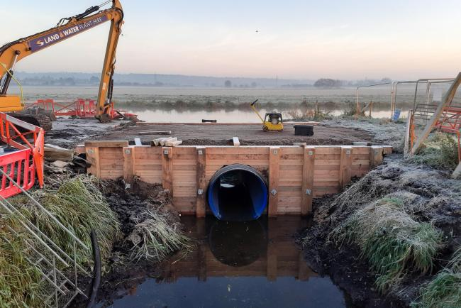 WORKS: The new Egypt's Clyse culvert connects Othery Rhyne and King's Sedgemoor Drain. It will be used by the Environment Agency to help move water around the Somerset Levels for the benefit of homeowners, businesses, farmers and wildlife