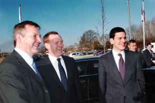 Jeremy Browne, centre, with Foreign Secretary David Miliband, right, in Taunton