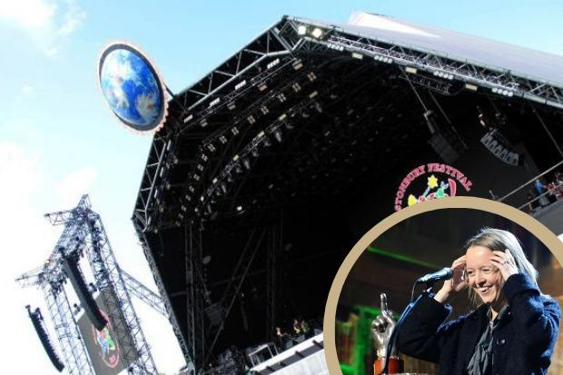 'NOT CANCELLED YET': Emily Eavis said Glastonbury 2021 is 'not cancelled yet'. Picture of stage, Paul Jones, and picture of Emily Eavis, PA Wire