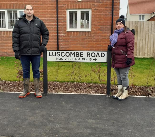 BAFFLED: Amy Barclay, with husband Steve, who can't understand why their street name has been changed