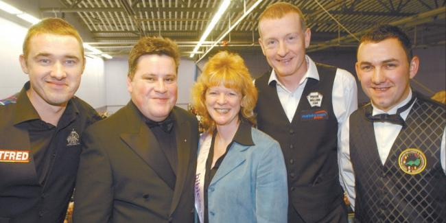 SNOOKER GREATS: Pictured from left to right - Stephen Hendry, Geoff Dymond (organiser), Teresa Wort (representing the British Institute for Brain Injured Children), Steve Davis, Andy Sheehan