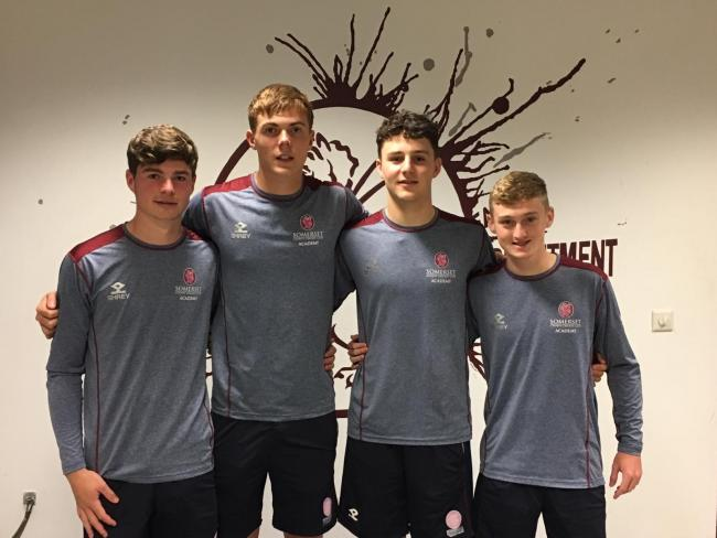 PROMISE: Kasey Aldridge, pictured second from left, alongside fellow Somerset Academy players Sam Young, Ned Leonard and Lewis Goldsworthy (pic: SCCC)