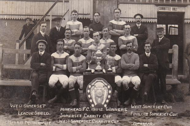 TROPHY HAUL: Minehead footballers in the 1911/12 season