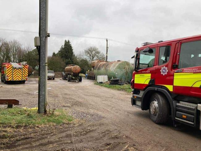 The crews on the farm. Picture: Pewsey Fire Station