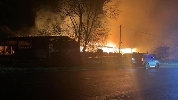 Somerset County Gazette: BLAZE: Photo taken at the Langaller turning at 10.05pm. Pic: Mark Jenks