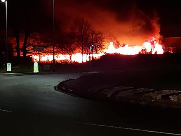 Somerset County Gazette: FIRE: Barn blaze near Taunton. Pic: Kerry Louise Nead's