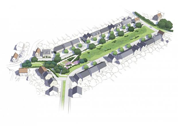Somerset County Gazette: Aerial View Of Phase One Of The Comeytrowe Urban Extension In Taunton. CREDIT: Barton Willmore. Free to use for all BBC wire partners.