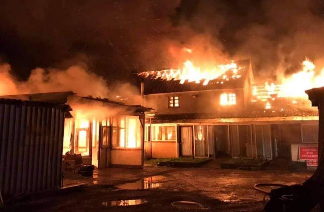 The fire underway. Picture: Nether Stowey Fire Station