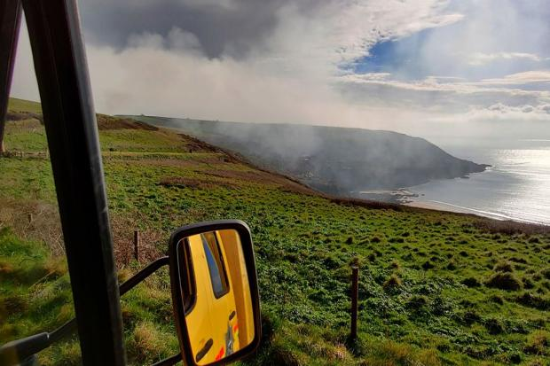 The fire at Rame Head, Cornwall. Picture: St Austell Community Fire Station