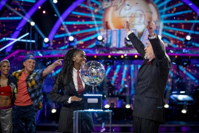 Bill Bailey and Oti Mabuse, winners the final of Strictly Come Dancing 2020. (BBC/PA)