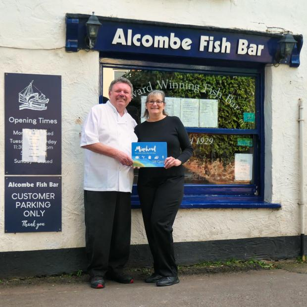 Somerset County Gazette: MINEHEAD GIFT CARD:  Jill Foster and husband Paul from Alcombe Fish Bar