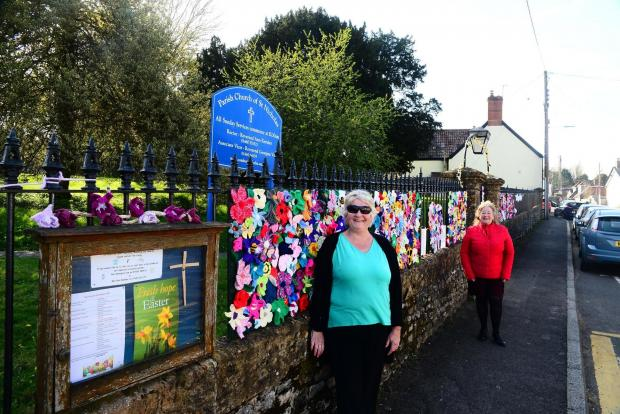 Somerset County Gazette: Janet Gage and Sue Helliker at the Parish Church of St Nicholas, Combe St Nicholas