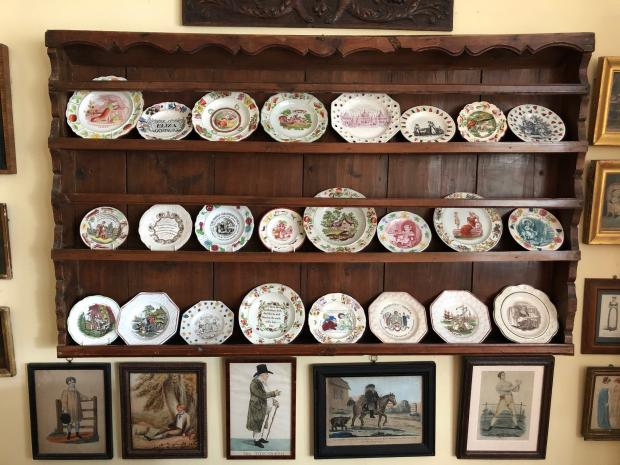 Somerset County Gazette: POTTERY: Part of the collection of Victorian pottery nursery plates in the drawing room