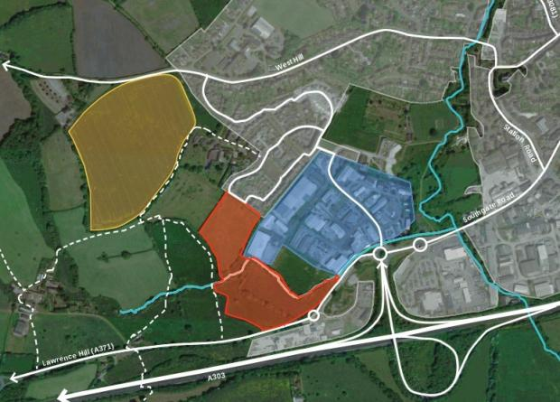 Somerset County Gazette: PLAN: A map showing the proposed 80 homes and industrial units development site (red) with the existing business park (blue) and the west hill site owned by Gladman Developments (yellow)