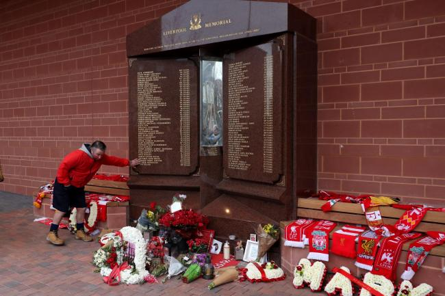 Fans pay their respects at the Hillsborough memorial