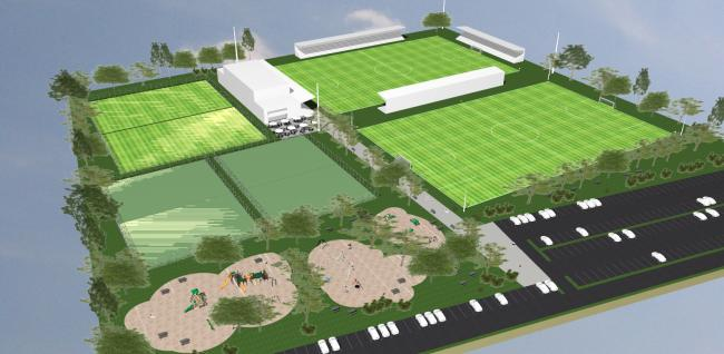 PROPOSALS: A CGI image of Bridgwater United Football Club's plans for the Bristol Road Playing Fields site