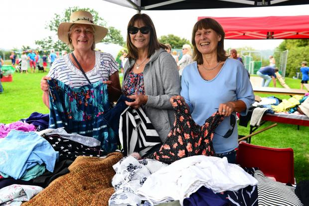 Somerset County Gazette: Pilton Picnic and Scarecrow Contest;  Jean Warry, Sandra House and Shirley Chiffers of Nearly New.