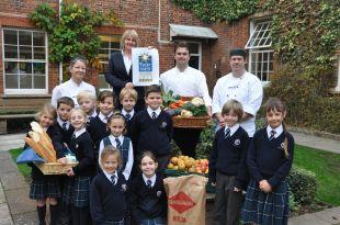 Pupils with the catering team at King's Hall School, left to right, chef Sophie Waymouth, catering manager Liz Colbourne, head chef Chris Rose and chef Stuart Griffiths.
