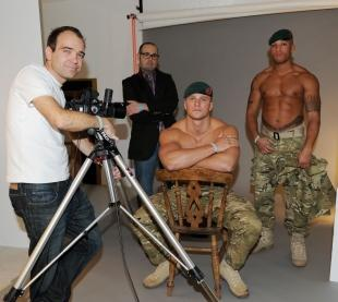 L-Cpl Sam Harvey and Marine Lex Igwe with photographer Neil White and Sean O'Brien