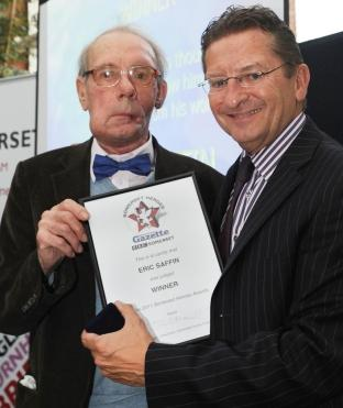 Eric Saffin, of Monkton Heathfield, near Taunton, with Newsquest Somerset Editor-in-Chief Ken Bird.