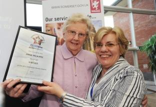 Winner Anne Pickard, from Taunton, with Somerset County Council deputy chairman, Elaine Waymouth.