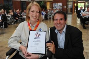 Winner Gill Carter, with Matt Faulkner, from BBC Somerset.
