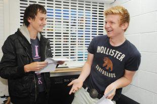 Ben Tratton and Jake Miles from SPACE receive their results.