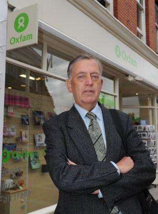 Barry Nowlan outside the Oxfam shop.