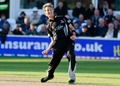 Max Waller celebrates a Warwickshire wicket. PHOTO: Tom Smith