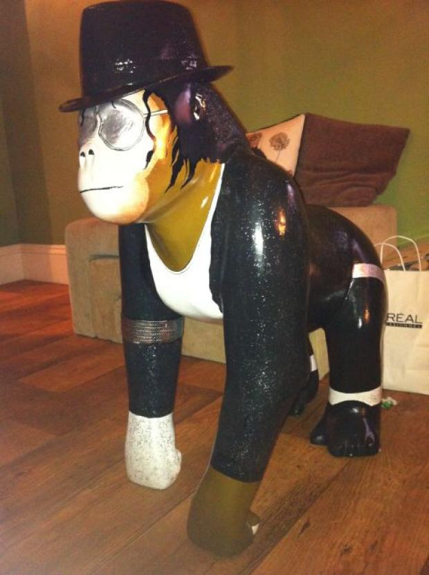 The fibreglass gorilla which will be first prize at the charity auction in October