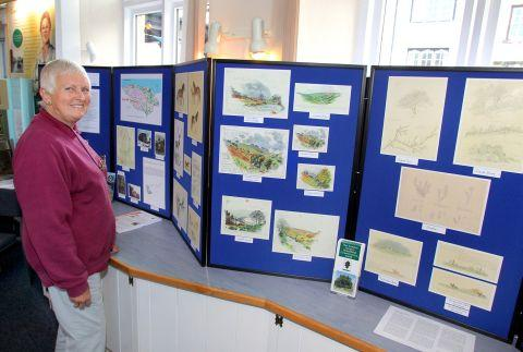 Kath Else, of Porlock Visitor Centre, enjoys Hope Bourne's artwork. PHOTO: Steve Guscott