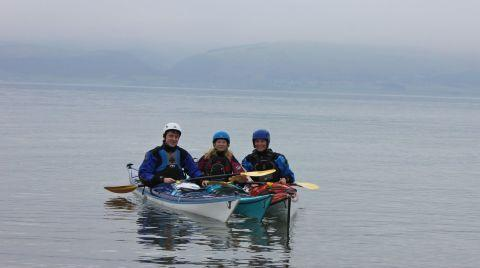 Mark Waddoups, Alice Lawson and Erin Dunn in training for their kayak trip