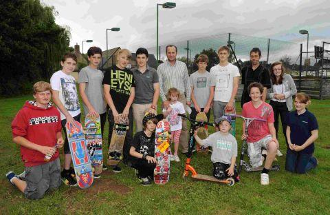 Skateboarders with Simon Webb and Cllr Mike Rigby