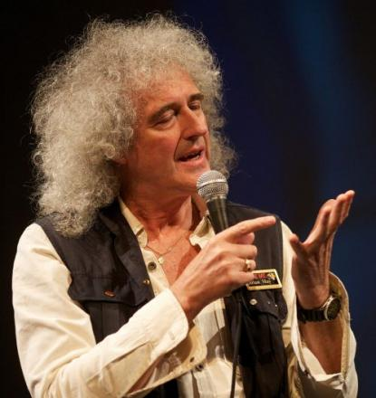 BRIAN May speaking at Taunton's Brewhouse Theatre back in 2012. PHOTO: David Hedges.