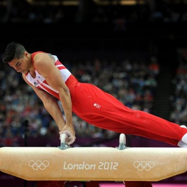 Louis Smith competes in the men's pommel horse final