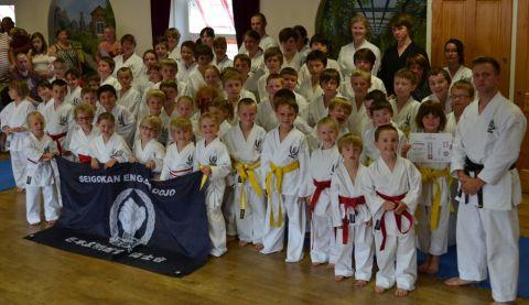 Richard Marsh, far right, with students at the grading