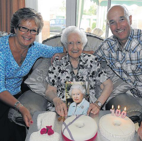 CENTENARIAN Ruby Lewis with daughter, Sue Squires, and son, Nick