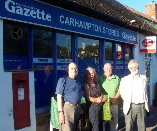 Members of the Carhampton Community Shop Steering Group, from left, Mike Payn, secretary Hester Watson, Joe Magill and chairman Peter Jaques. PHOTO: Magna West Somerset Housing Association