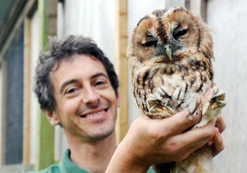 Peter Venn with one of the owls