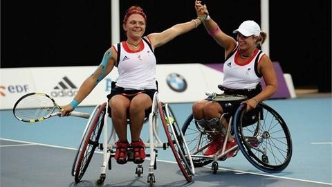 Lucy Shuker and doubles partner Jordanne Whiley