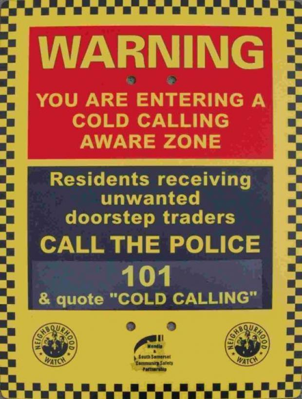 One of the signs warning cold callers they are not welcome