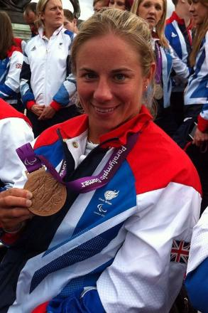 Lucy Shuker on the Olympic bus tour with her bronze medal.